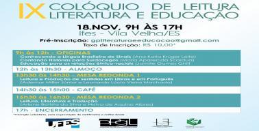 IX Colóquio de Leitura Literatura e Educação - IFES Vila Velha